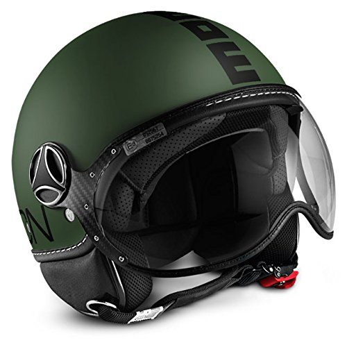 10010020265 CASCO DEMI JET MOMO DESIGN : FIGHTER CLASSIC VERDE OPACO/NERO TG.M/L