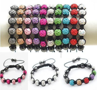 Great Value Shamballa Bracelet Disco Ball Pave By KurtzyTM 14 Colours To Choose From - Purple