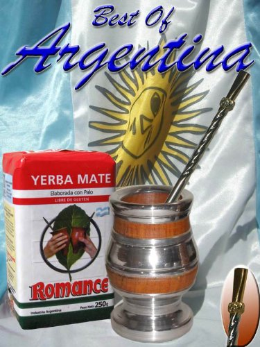 Argentina Kit: Mixed Gourd: Algarrobo Tree Wood & Alluminum Plus Yerba Mate Herb Tea Plus Metal Nickel Straw