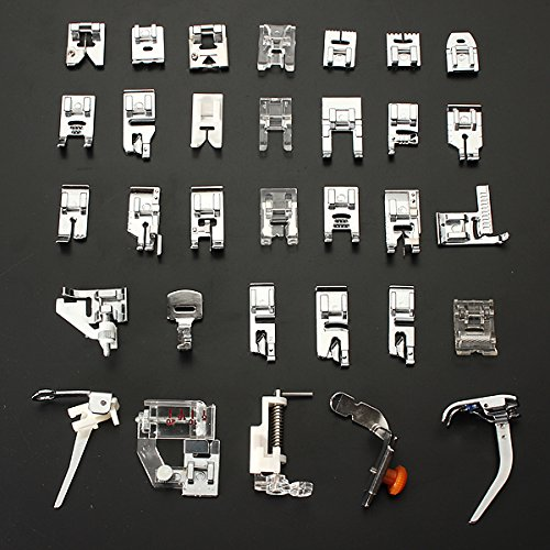 MECO(TM) 32pcs Domestic Sewing Machine Presser Foot Set For Janome Brother Singer NewHome