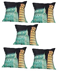 meSleep Digitally Printed Leaning Tower of Pisa 5 Piece Cushion Cover Set - Multicolor