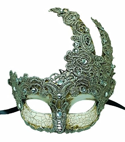 Venetian Goddess Masquerade Mask Made of Resin, Paper Mache Technique with High Fashion Macrame Lace & Rhinestones [Silver] (Paper Mache Masquerade Mask compare prices)