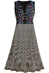 Women's Flower Power Black And White Striped Sleeveless Dress
