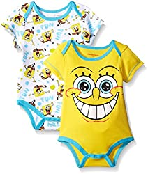 SpongeBob Square Pants Baby Soft 2 Pack Bodysuits, Yellow, 6-9 Months