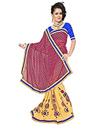 SAILAXMI FASHION Women's Red and Beige Saree (SLFS013_Free_Size)