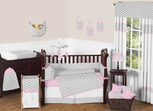 Sweet Jojo Designs Pink and Gray Chevron Zig Zag Baby Girl Bedding 9pc Crib Set