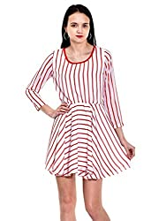 IKnow Women's Fit and Flare Red and White Dress