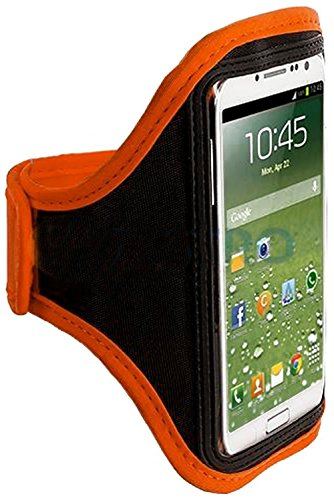 Mylife (Tm) Orange + Black Velcro Strap (Light Weight Flexible Neoprene + Secure Running Armband) For Samsung Galaxy S3 And S4 Touch Phone (Designed For All Galaxy S3 And S4 Models From All Carriers + Universal One Size Fits All + Velcro Secured + Adjusta