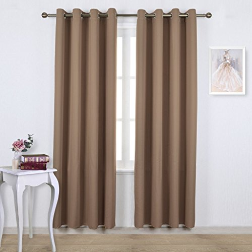 NICETOWN Triple Weave Microfiber Energy Saving Thermal Insulated Solid Grommet Blackout Curtains for Patio (One Pair,52 Inch by 95 Inch,Taupe-Khaki) (Keep The Heat In compare prices)