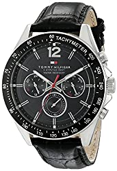 Tommy Hilfiger Mens 1791117 Sophisticated Sport Watch With Black Leather Band