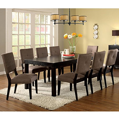 Bay Side Espresso Finish 9-Piece Dining Table Set (9 Piece Espresso Dining Set compare prices)