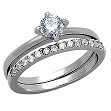 buy Pentara: 0.71Ct Russian Ice On Fire Cz 2Pc Semi-Eternity Wedding Ring Set 316 Steel, 3283B Sz 8.0