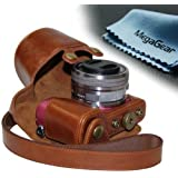 "MegaGear ""Ever Ready"" Protective Leather Camera Case, Bag for Sony Alpha a5000 Sony a5100 with 16-50mm OSS Lens (Light Brown)"