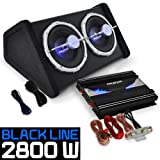 Car Audio HiFi System 'Black Line 140' Subwoofer Amplifier 2800W Set