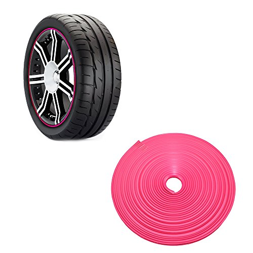 KingMas Car Vehicle Wheel Rim Protector Tire Guard Line Rubber Moulding 8M (Pink)