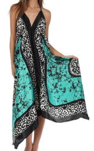 Sakkas Silky V-Neck Halter Handkerchief Hem Maxi Dress