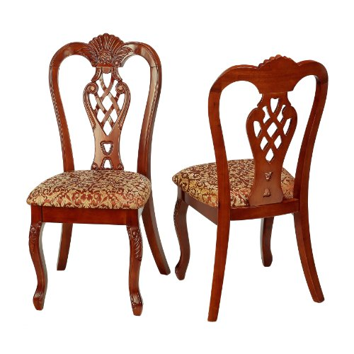 Cortesi Home Elisabetta Queen Anne Pierced Splat Dining Chair in Chestnut and Gold Fabric (Set of 2) (Chippendale Side Chair compare prices)