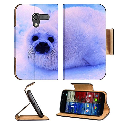 Animal Wildlife Seal Snow Cute White Furry Baby Motorola Moto X Flip Case Stand Magnetic Cover Open Ports Customized Made To Order Support Ready Premium Deluxe Pu Leather 5 7/16 Inch (138Mm) X 3 1/16 Inch (78Mm) X 9/16 Inch (14Mm) Luxlady Mobility Cover P front-60446