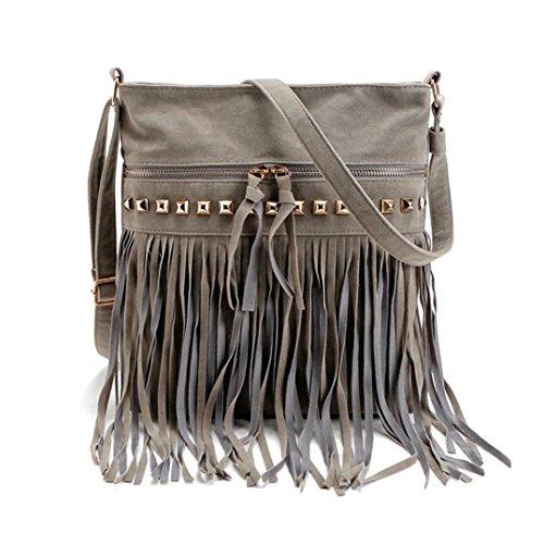 Koly_messenger bag borsa tote della spalla della borsa delle donne (Grigio)