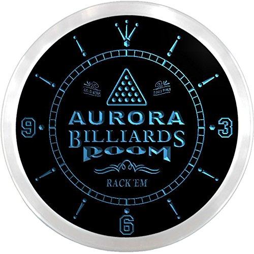 Ncpj2106-B Aurora Billiards Room Rack 'Em Beer Bar Led Neon Sign Wall Clock