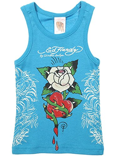 Ed Hardy Little Girls' Racer Sleeveless Tank Top -Turquoise