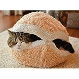 猫ちゃん用 マカロン型ベッドベージュ&特製まくらの2点セット