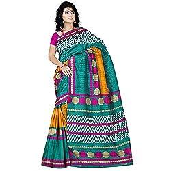 Pawan Tex Bhagalpuri sree for women's (Bhagalpurimix03_rama green)