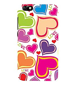 Colourful Love Hearts Wallpaper 3D Hard Polycarbonate Designer Back Case Cover for Huawei Honor 4X :: Huawei Glory Play 4X