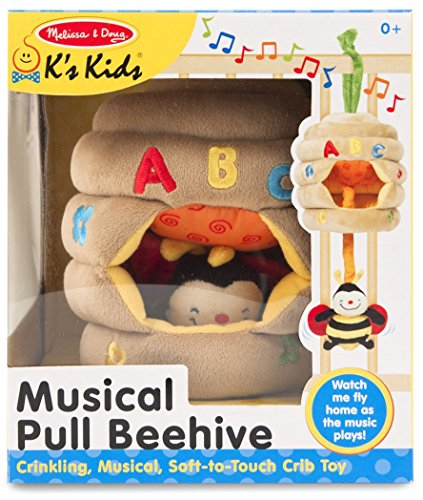 K's Kids Musical Pull Beehive Plush + FREE Melissa & Doug Scratch Art Mini-Pad Bundle [91596]