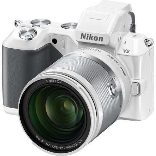 Nikon 1 V2 14.2 MP HD Digital Camera Body with 10-100mm VR 1 NIKKOR Lens (White) Big SALE