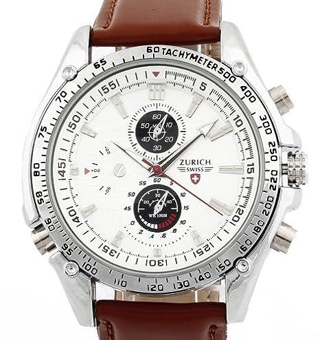 Men-s-Brown-Leather-Strap-White-Dial-Quartz-Movement-Wrist-Watch