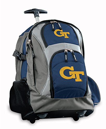 Georgia Tech Rolling Backpack Deluxe Navy Yellow Jackets Logo Backpacks Bags Wi