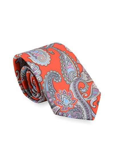 Brioni Men's Paisley Silk Tie, Red