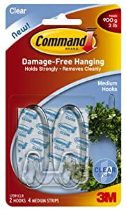 Command Medium Hooks, Clear, 2-Hook, 6-Pack