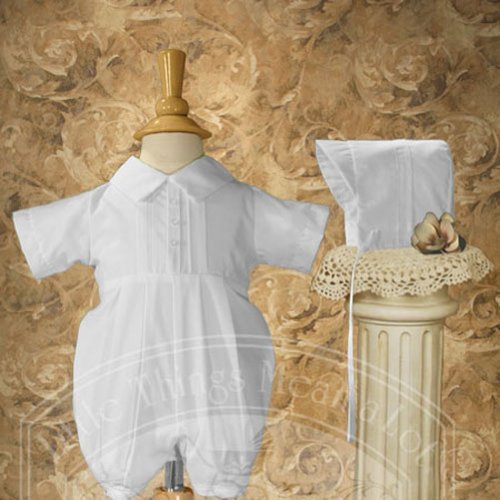 Baby Boys Size 3M White Polycotton Pin Tucked Baptism Romper
