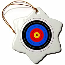 buy 3Drose Orn_157561_1 Target With Red Yellow Black White And Blue Rings Archery Goal Sport Game Illustration Porcelain Snowflake Ornament, 3-Inch