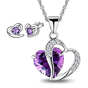 Simulated Amethyst Double Heart Pendant Necklace + Purple Heart Stud Earrings Gift, Comes With Gift Box