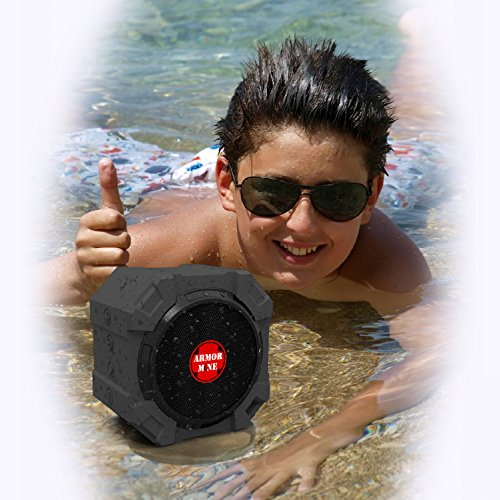 Bluetooth Speaker for iPhone and Other Mobile Devices, Waterproof, Rugged, Shockproof, Dustproof, Indoor/Outdoor, Hi-Def Bass, by ARMOR MiNE™ nsp 150v external mobile speaker