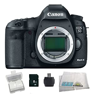 Canon EOS 5D Mark III Digital Camera (Body) - International Version (No Warranty) with 8GB Memory Card, Memory Card Reader & Memory Card Wallet - 5260B002 - SSE Bundle Package