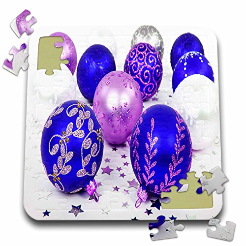 Yves Creations Christmas Decorations - Blue and Purple Christmas Baubles - 10x10 Inch Puzzle (pzl_36870_2)
