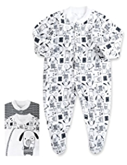 3 Pack Pure Cotton Dog Print Sleepsuits