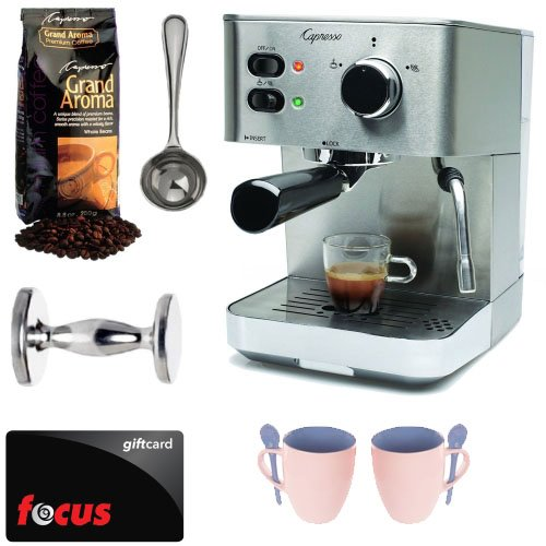 Capresso EC PRO 118.05 Professional Espresso & Cappuccino Machine with Grand Aroma Whole Bean Coffee (8.8oz),Espresso, Coffee Measure, ESPRESSO TAMPER (CD) with Two Coffee Mugs + $15 Focus Gift Card