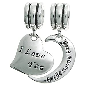 925 Sterling Silver I Love You To The Moon & Back Heart European Dangle Bead Charm