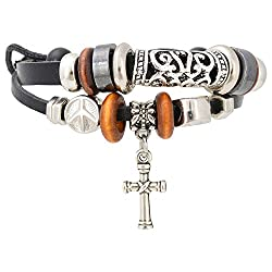 Aaishwarya Layered Cross Charm Leather Bracelet For Men & Women