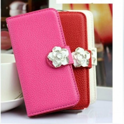 Luxury Crystal Rhinestone Camellia Leather Card Flip Card Holder Wallet Case Cover for Samsung Galaxy S Blaze 4G SGH-T769 T-Mobile rosedark pink