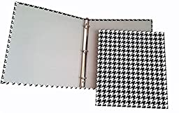 Set of 2 - 3 Ring Fabric Binder 1 Inch - Daily Planners Desk Organizers - Houndstooth Design (Black/White)