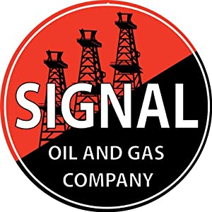 Round Signal Gas Motor Oil And Gasoline Sign With Oil Field Garage Art