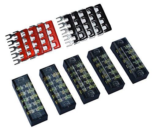 5 Pcs Dual Row 5 Position Screw Terminal Strip 600V 15A + 400V 15A 5 Postions Pre Insulated Terminal Barrier Strip Red /Black 10 Pcs