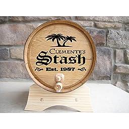 Personalized Oak Barrel Drink Dispenser & Aging Kit, The Complete DIY Whiskey, Bourbon, Scotch, Rum, or Wine Aging Kit, Palm Trees/Stash, 2 Liter, 2 Essences