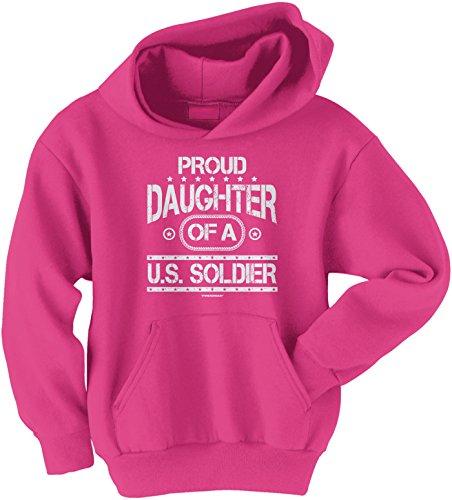 Threadrock Big Girls' Proud Daughter Of A U.S. Soldier Youth Hoodie Sweatshirt M Fuchsia front-1032249